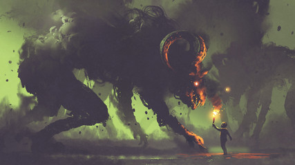 dark fantasy concept showing the boy with a torch facing smoke monsters with demon's horns, digital art style, illustration painting © grandfailure