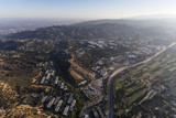 Aerial view towards Barham Blvd, the Los Angeles River and Toluca Lake on the edge of the San Fernando Valley in Los Angeles, California.