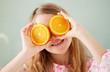 Quadro Cheerful girl with orange