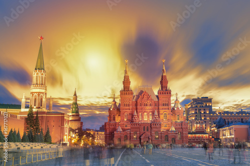 Sunset view of the Red Square, Moscow Kremlin, Lenin mausoleum, historican Museum in Russia. World famous Moscow landmarks for tourism and travel.