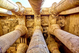 columns of the hypostyle hall of Karnak's temple in Luxor, Egypt - 167718257