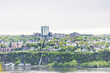 Cityscape or skyline of Levis town from plaines d'Abraham in summer in Quebec City, Canada overlooking the Saint Lawrence river