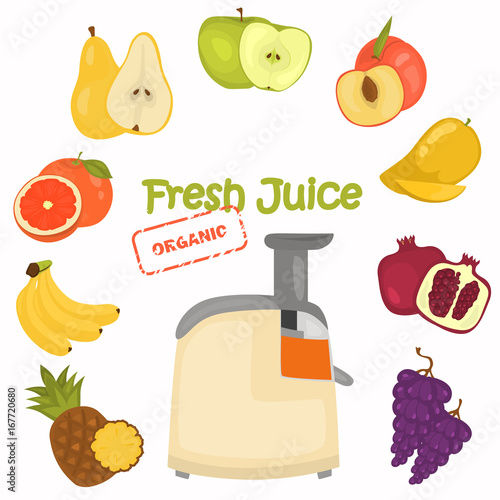 Juicer and fruit color illustration for web and moible design
