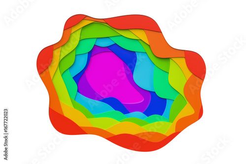 Abstract colorful colors, cut waves background. 3D rendering