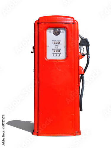 Fotobehang Route 66 Vintage (retro) red gasoline pump