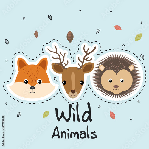 cute wild animals sticker leaves fall over blue background vector illustration