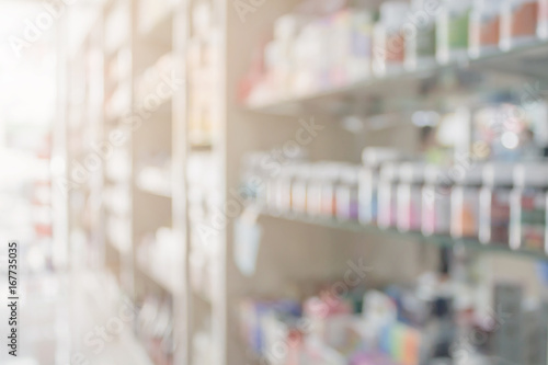Foto Spatwand Apotheek Pharmacy blur background with medicine on shelves