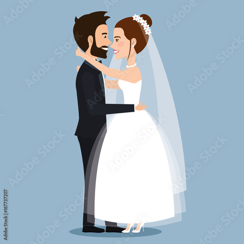 beautiful young bride and groom couple embracing on wedding day vector illustration