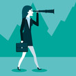 business woman using spyglass for searching of opportunities vector illustration - 167739294