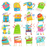 Cartoon colorful Monsters for Kids Big Collection - 167739824