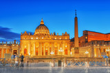 St. Peter's Square and St. Peter's Basilica, Vatican City in the evening time.Italy. - 167743051