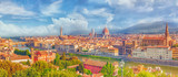 Beautiful landscape above, panorama on historical view of the Florence from  Piazzale Michelangelo point. Morning time. - 167743633