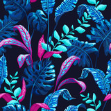 Tropical seamless pattern with palm leaves. - 167745043