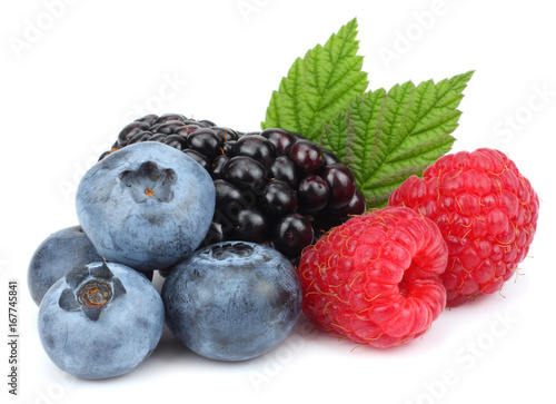 Sticker mix of blueberries, blackberries, raspberries isolated on white background
