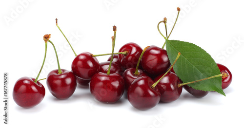 cherries with green leaf isolated on white background.