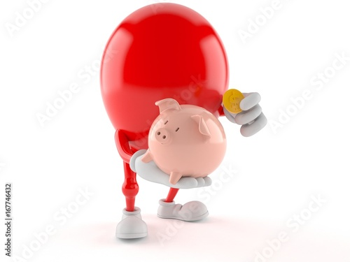 Balloon character holding piggy bank