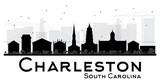 Fototapety Charleston South Carolina City skyline black and white silhouette.