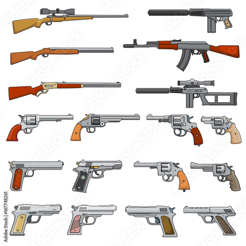 Various rifle, guns and pistols cartoon vector weapons icons © MicroOne