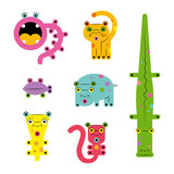 Set collection of unusual cute colored bright strange various cute colorful cartoon weird сreatures monsters animals