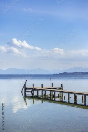 Fotobehang Pier wooden jetty Starnberg Lake