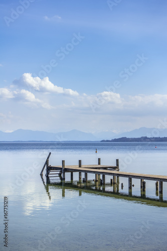 Foto op Aluminium Pier wooden jetty Starnberg Lake