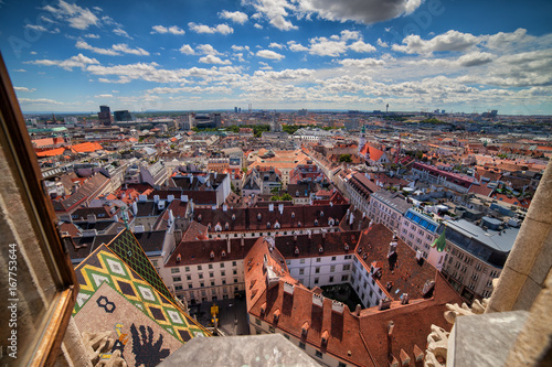 Deurstickers Wenen Austria, Vienna, capital city cityscape, view from the south tower of St. Stephen's Cathedral