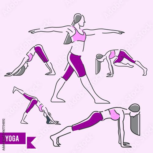 Sticker Yoga Vector Illustration