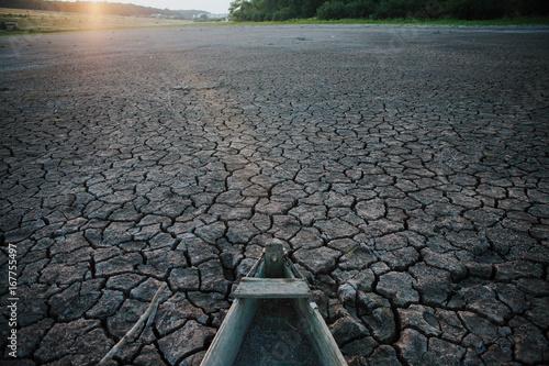 Foto op Canvas Stenen Boat on dry land