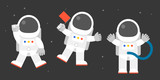 cute astronaut in various post, holding flag, say greeting, flat design vector illustration - 167755848