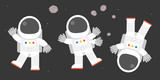 cute astronaut in various post, bye bye, say hello, flat design vector illustration - 167755865