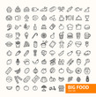Big Food Black Thin Line Icon Set. Vector