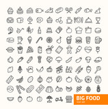 Fototapety Big Food Black Thin Line Icon Set. Vector