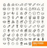 Big Food Black Thin Line Icon Set. Vector - 167757225