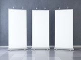 Three Blank roll up banner display. Template mockup. 3d render - 167758606