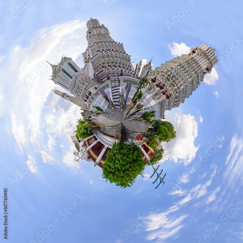 360 Panorama of Wat Arun Ratchawararam Ratchawaramahawihan in Thailnd