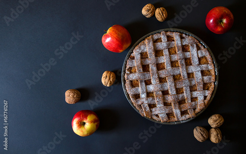 Wall mural Apple pie from above