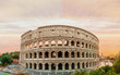 Colosseum panorama at sunset time with marvelous sky.
