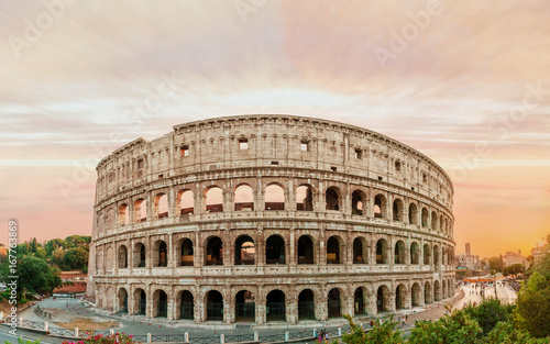 Foto op Aluminium Rome Colosseum panorama at sunset time with marvelous sky.