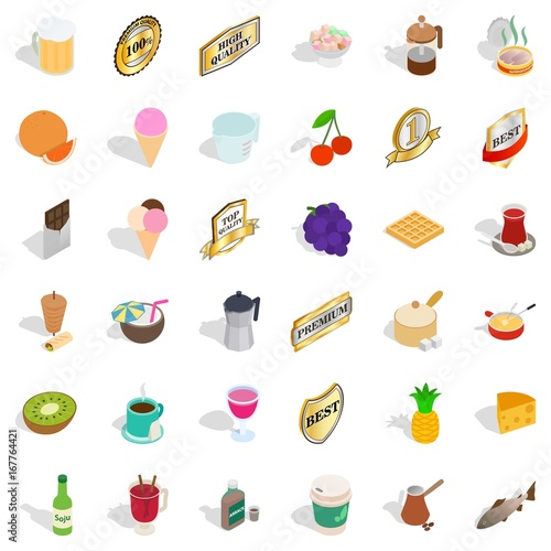 Beverage icons set, isometric style