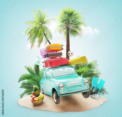 Samochód załadowany walizkami na wakacje na plaży