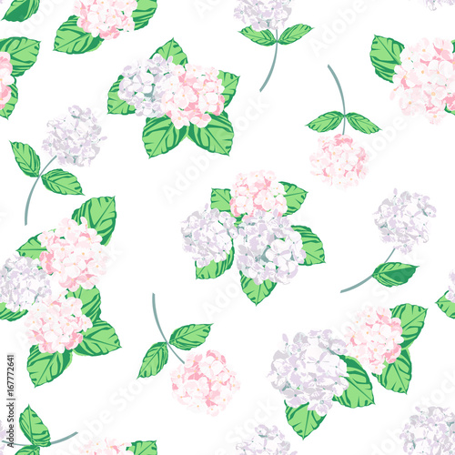 Hydrangea design is vector for seamless pattern and background. Flower sweet is pink and purple flower and green leaf. - 167772641