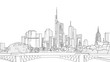 Hand drawn Frankfurt Skyline Panorama Sketch