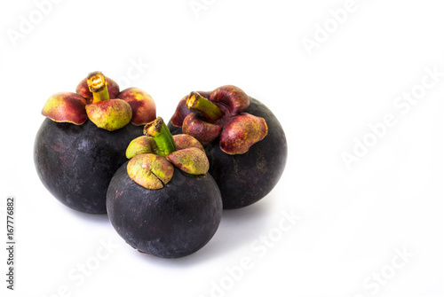 Closeup mangosteen isolated on white background (clipping path included)