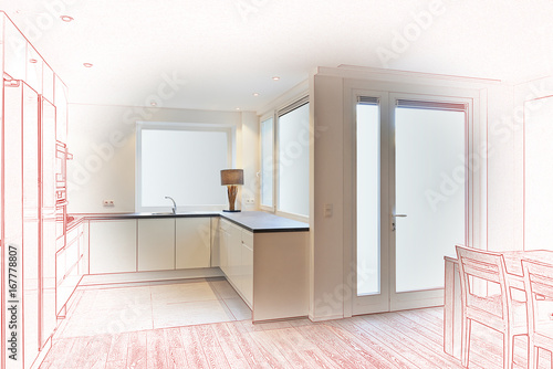 Kitchen in renovated house - 167778807