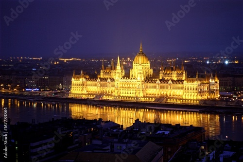 Hungarian Parliament at night in the blue hour.