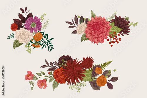 Summer and autumn set floral bouquets. Dahlias, Ruscus, Viburnum, Ranunculus. Modern floristics. Vector illustration. Colorful.