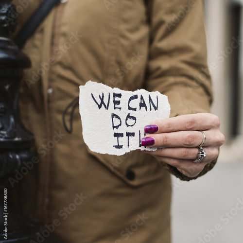 woman and text we can do it Poster