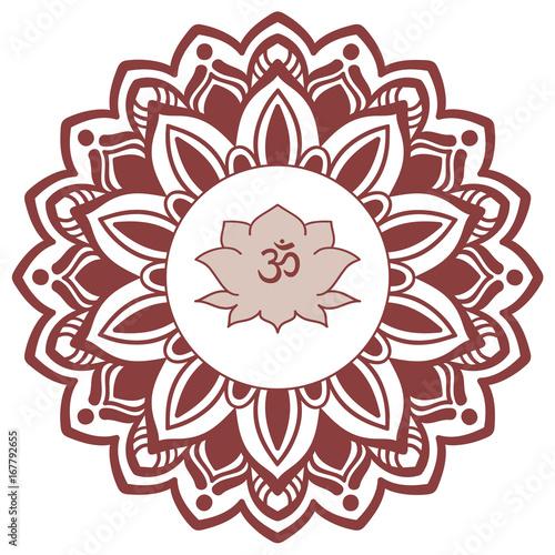 Om symbol with hand drawn mandala and lotus flower set of oriental om symbol with hand drawn mandala and lotus flower set of oriental ornaments for greeting mightylinksfo