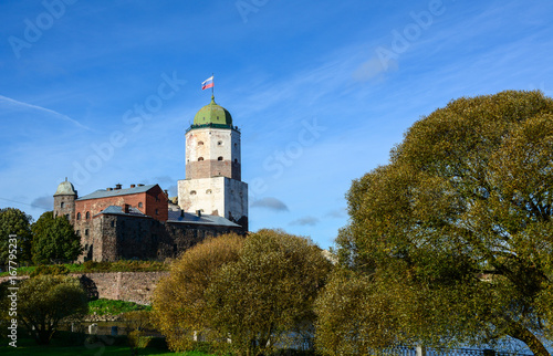 Old castle and Saint Olaf tower in Vyborg, Russia Poster