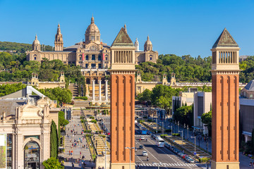 Aerial view of Barcelona city and plaza de espanya,Spain